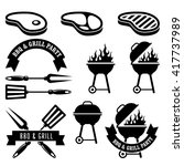 barbecue party   bbq and grill... | Shutterstock .eps vector #417737989