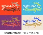 you are beautiful calligraphy ...   Shutterstock .eps vector #417745678
