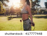 outdoor shot of muscular and... | Shutterstock . vector #417777448