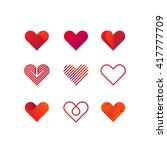 set of heart vector logo. line... | Shutterstock .eps vector #417777709