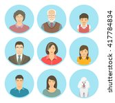 asian family faces flat vector... | Shutterstock .eps vector #417784834