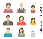 asian family faces flat vector... | Shutterstock .eps vector #417784840