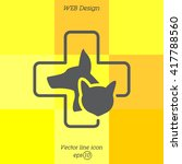 Stock vector web line icon veterinary medicine icon dog cat and cross 417788560