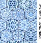Indigo Blue Tile. Seamless Til...