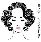 short hair style icon  logo...   Shutterstock .eps vector #417801718