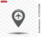 map pointer with air plane icon....   Shutterstock .eps vector #417810286
