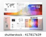 vector set of tri fold... | Shutterstock .eps vector #417817639