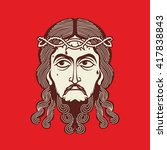 face of jesus christ hand drawn | Shutterstock .eps vector #417838843