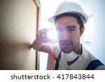 close up portrait pest worker...   Shutterstock . vector #417843844