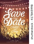 Hanging decorative holiday lights for a party. Garden party invitation.  Inspiration card for wedding, date, birthday party | Shutterstock vector #417845998