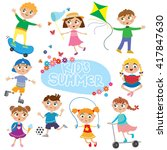 set of cute kids on holidays | Shutterstock .eps vector #417847630