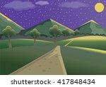 landscape mountain night | Shutterstock .eps vector #417848434