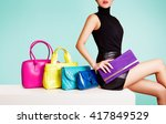 woman sitting with colorful... | Shutterstock . vector #417849529