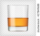 glass of scotch whiskey. shot...   Shutterstock .eps vector #417849688