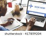 book now traveling... | Shutterstock . vector #417859204