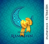 happy ramadan islamic greeting... | Shutterstock .eps vector #417866584