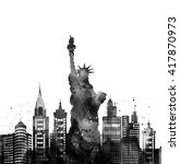 silhouette new york city  ... | Shutterstock . vector #417870973
