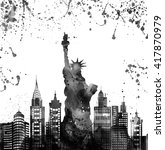 silhouette new york city  ... | Shutterstock . vector #417870979