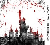 silhouette new york city  ... | Shutterstock . vector #417870994