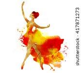 ballerina dancing. watercolor. | Shutterstock . vector #417871273