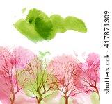 watercolor trees in spring | Shutterstock . vector #417871309