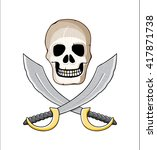Pirate Style Scull With Golden...