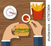 eating hamburger. eating fast... | Shutterstock .eps vector #417871804