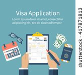 application visa vector. man at ... | Shutterstock .eps vector #417871813