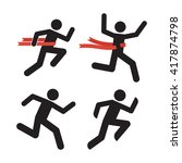 run man icons. human silhouette ... | Shutterstock .eps vector #417874798