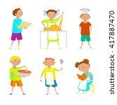 kids cooking. stock vector. | Shutterstock .eps vector #417887470