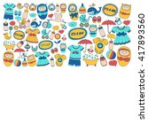 baby icons hand drawn doodle... | Shutterstock .eps vector #417893560