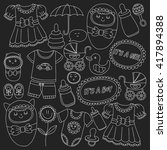 baby icons hand drawn doodle...   Shutterstock .eps vector #417894388