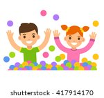 children in ball pit... | Shutterstock .eps vector #417914170