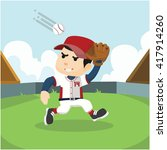 catcher ran to catch a baseball ... | Shutterstock .eps vector #417914260