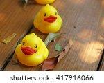 Yellow Rubber Duck In The Garden