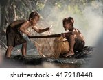 asian kids enjoyed fishing  in... | Shutterstock . vector #417918448