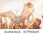 happy hipster woman crowd... | Shutterstock . vector #417930634