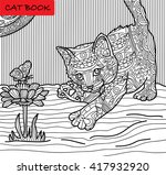 coloring cat page for adults. ... | Shutterstock .eps vector #417932920