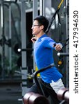 young asian man working out in... | Shutterstock . vector #417934630