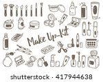 set of make up kit doodle | Shutterstock .eps vector #417944638