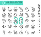 seafood    thin line and pixel... | Shutterstock .eps vector #417946186
