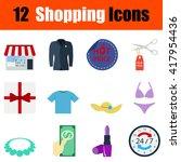 flat design shopping icon set...