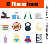 flat design fitness icon set in ...
