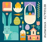 vector easter symbols made in... | Shutterstock .eps vector #417955138