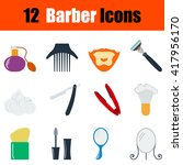flat design barber icon set in...