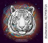 white tiger in outer space art... | Shutterstock .eps vector #417958714