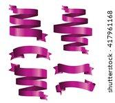 purple banner ribbon vector set ... | Shutterstock .eps vector #417961168