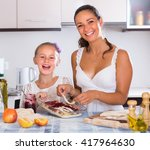 cheerful housewife with... | Shutterstock . vector #417964630