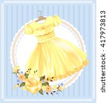 vintage  label with yellow... | Shutterstock .eps vector #417973813