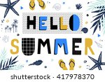 hello summer poster in pop art... | Shutterstock .eps vector #417978370